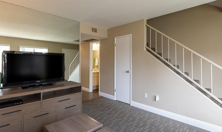 2 story condo living room