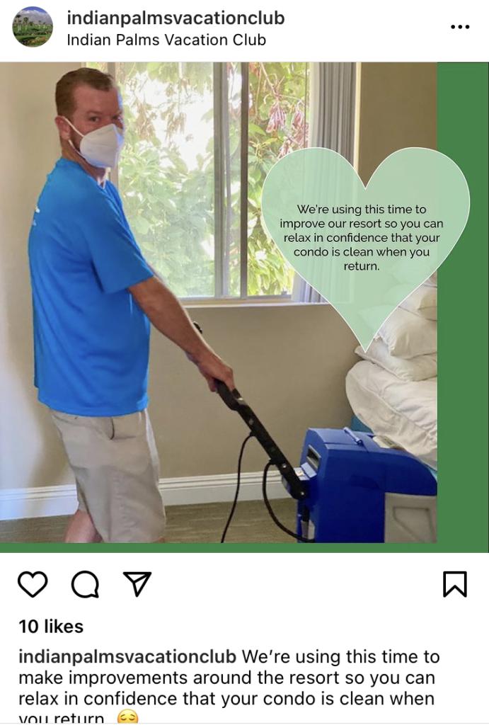 Indian Palms Vacation Club Associate sanitizing unit